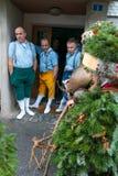 Mummers &#x28 do ano novo; Silvesterchlausen) em Urnasch, Appenzell Fotos de Stock Royalty Free