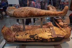 Mummies and sarcophagus in British museum in London. LONDON - AUGUST 5: Mummies and sarcophagus in British museum on August 5, 2015 in London, UK. Mummies from Stock Photos