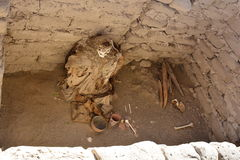 Mummified body at the Cemetery of Chauchilla, in the desert of Nazca, Peru Stock Image