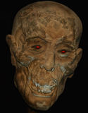 A Mummified Head. With Supernatural Red Glowing Eyes Royalty Free Stock Image