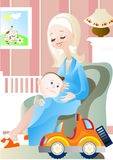 Mummy. The little boy and his mum speak about the kid who should Royalty Free Stock Photo