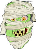 Mummy. Cartoon graphic depicting a mummy face wrapped in rags Stock Photo