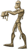 The mummy. Old mummy walking some his wraps are not tied stock illustration