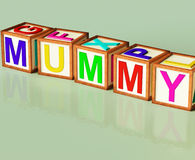 Mummy Blocks Mean Mum Parenthood And Children Royalty Free Stock Image