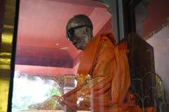 Mummy of a Buddhist monk. Dehydrated mummy of a Buddhist monk in a Buddhist temple. Samui. Thailand Stock Photos