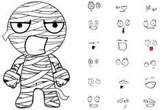 Mummy cartoon emotions set angry Royalty Free Stock Image