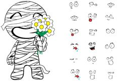 Mummy cartoon emotions set flowers Stock Image