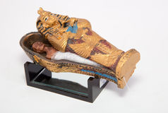 Mummy. In a casket on white background stock images