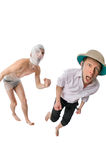 Mummy chasing archeologist Royalty Free Stock Image