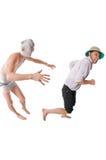 Mummy chasing archeologist Royalty Free Stock Image
