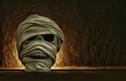Mummy covered by clothes in skull decorated at halloween cosplay royalty free illustration
