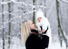 Mummy with daughter in winter park Stock Photography