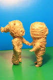 Mummy dolls. Couple. Shake with ropes Royalty Free Stock Photography
