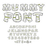 Mummy font. Alphabet in bandages. Monster zombie Letters of  Lat Royalty Free Stock Image