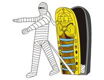 The mummy goes out of the sarcophag. My illustration of a mummy going out of the sarcophagus Stock Photos