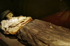 Mummy of Guanajuato, Mexico. The Mummies of Guanajuato are a number of naturally mummified bodies interred during a cholera outbreak around Guanajuato, Mexico in Stock Image