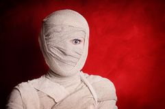 Mummy halloween costume. Woman wrapped up with bandages as a mummy halloween costume Royalty Free Stock Image