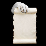 Mummy in hands keeps manuscript Stock Image