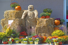 Mummy, hay bales, pumpkins, and colorful mums. Royalty Free Stock Photos