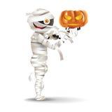 Mummy hold a pumpkin Stock Photos