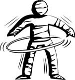 Mummy Hula Hooping Outline Royalty Free Stock Image