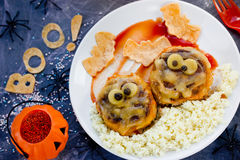 Mummy meatball Halloween dinner or lunch idea Stock Photo