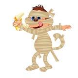 Mummy monkey eat banana Stock Image