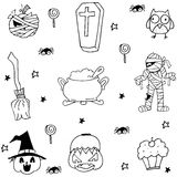 Mummy pumpkins ornament halloween in doodle Royalty Free Stock Images