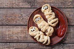 Mummy sausages scary halloween party food Royalty Free Stock Photo