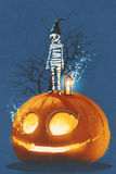 Mummy standing on giant pumpkin,Jack O lantern. Halloween concept,illustration painting royalty free illustration