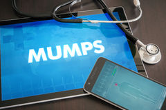 Mumps (infectious disease) diagnosis medical concept on tablet  Stock Photos