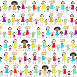 Mums and daughters of different nationalities. Mums and daughters of different nationalities keep hands. And also includes EPS 8 vector Royalty Free Stock Image