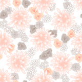 Mums flowers and roses seamless pink pattern. Feminine light chrysanthemum floral background Stock Photo