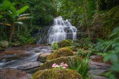 Mun Daeng Waterfall den härliga vattenfallet i regnig säsong för djup skog på den Phu Hin Rong Kla nationalparken, Phitsanulok, T Fotografering för Bildbyråer
