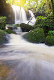Mun Dang Waterfall en la estación verde fresca de la lluvia del bosque profundo en Tha Fotografía de archivo libre de regalías