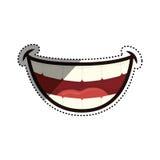 Mun som skrattar tecknade filmen stock illustrationer