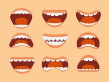 Mun, tänder och tunga för rolig tecknad film mänsklig med olika den isolerade uttrycksvektoruppsättningen stock illustrationer