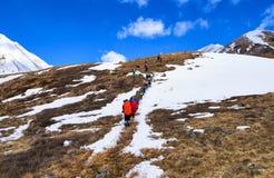 MUNCH-SARDYK, BOURIATIE, RUSSIE - 30 avril 2016 : Grimpeurs sur le flanc de coteau devant l'approche au pied de la montagne Images stock
