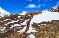 MUNCH-SARDYK, BURJATIEN, RUSSLAND - 30. April 2016: Bergsteiger auf Abhang vor Annäherung an Fuß des Berges stockbilder