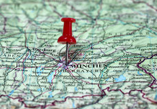 Munchen in Germany. Map with pin point of Munchen in Germany Royalty Free Stock Photography