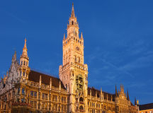 Munchen new town hall. At dusk Stock Images