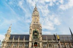 Munchen New Town Hall  Marienplatz. Munchen New Town Hall in Marienplatz Royalty Free Stock Images