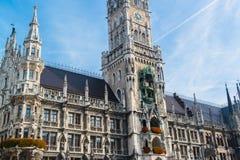 Munchen Nieuw Stadhuis Marienplatz Stock Afbeelding