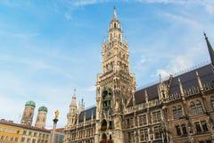 Munchen Nieuw Stadhuis Marienplatz Royalty-vrije Stock Fotografie