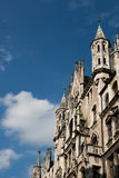 Munchen Rathaus. Detail of the old city hall in Munchen's famous city center, Marienplatz stock photos