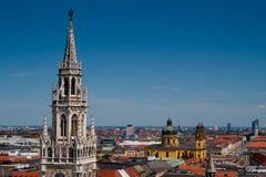 Munchen Rathauskontrollturm Stockfoto