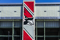 Muncie - cerca do março de 2017: Estádio de Scheumann na universidade estadual da bola O estádio abriu-me em 1967 Imagens de Stock Royalty Free