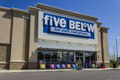 Muncie, IN - Circa August 2016: Five Below Retail Store. Five Below is a chain that sells products that cost up to $5 VI royalty free stock photos