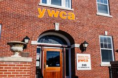 Muncie - Circa January 2018: Logo and signage of a local YWCA - eliminating racism, empowering women. Logo and signage of a local YWCA - eliminating racism Stock Images