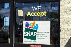 Muncie - Circa March 2017: A Sign at a Retailer - We Accept SNAP II royalty free stock photos